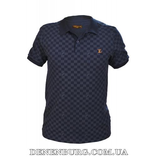 Футболка-поло мужская LOUIS VUITTON 19-7652 тёмно-синяя