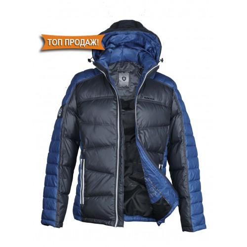 Куртка-пуховик мужская BLACK VINYL P 12-201 чёрно-синяя