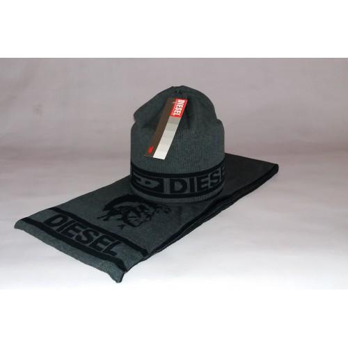 Комплект мужской (шапка + шарф) DIESEL 200-26 тёмно-серый