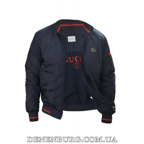 Куртка мужская демисезонная GUCCI 9015 тёмно-синяя